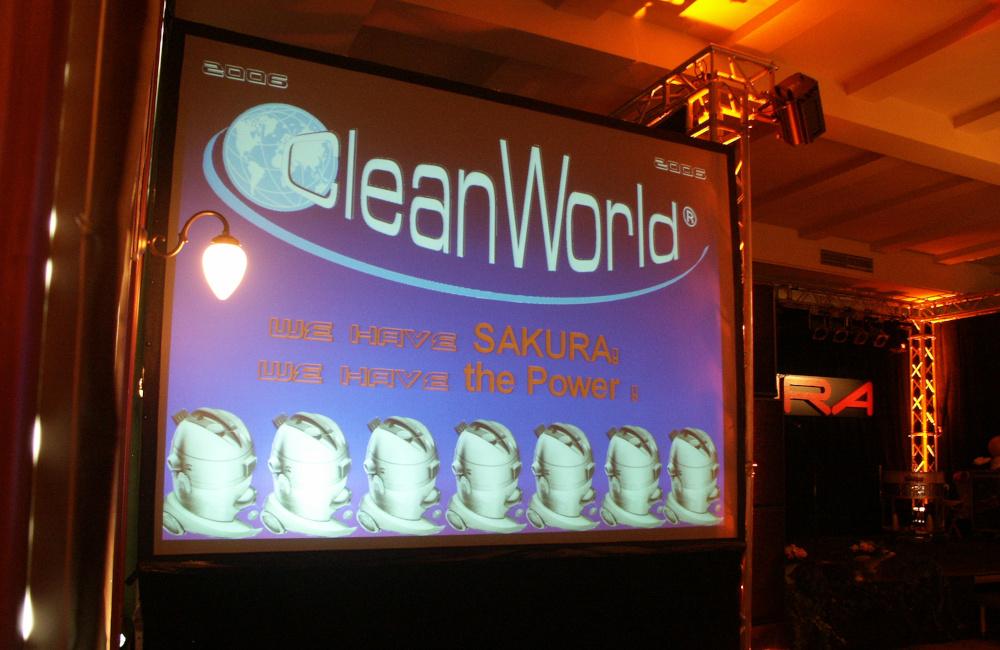 Bühne mit Traversen Beleuchtung und Rückprojektionsleinwand in München für Sakura Cleanworld