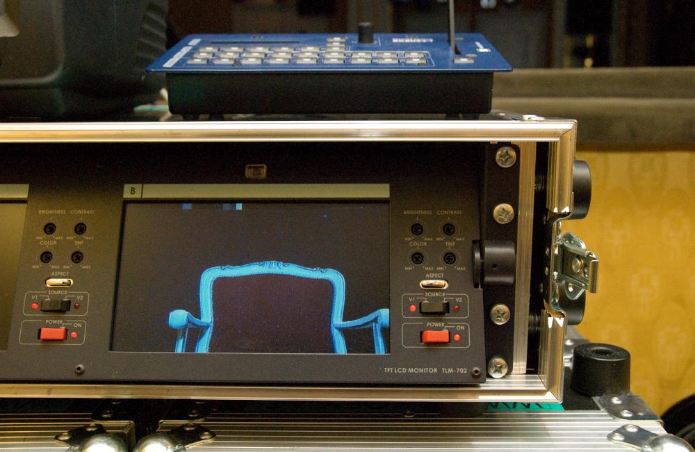 Videokontrollmonitor und Video-Romtecontroller für die Aufführung Krönung der Poppea im Stadttheater Klagenfurt