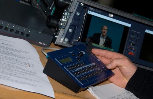 Analogway Videoregie mit Vorschaumonitor für Parteiveranstaltung der Grünen in der Messehalle Klagenfurt