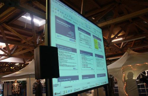 freistehende Rückprojektion und Lautsprecher auf Stativ für Vortrag Postaktion in der Messehalle Klagenfurt